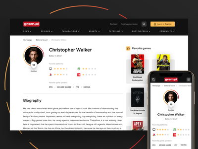 Video game magazine - User profile mobile profile card profile page profile user experience user interface users user modern landing page clean ux ui