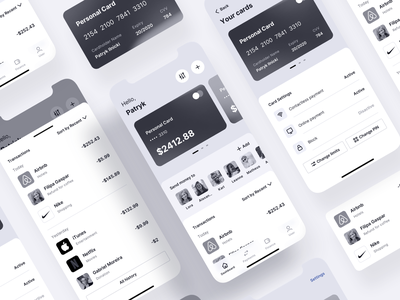 Mobile Banking App - Tetrisly clean credit card ios finance menu wireframe kit uxdesign ux wireframe uiux mobile ui bank bank app component component library card mobile dashboad banking