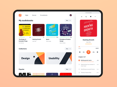 Audiobooks iPad App listening book player audio dashboad app design wireframe interface component library design system audiobooks audiobook components atomic design atomic ipad app