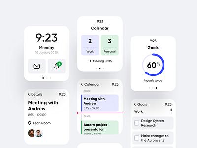 Daily Calendar Watch App ui ux clean design goals task management watch os todo tasks calendar watch mobile ios app android