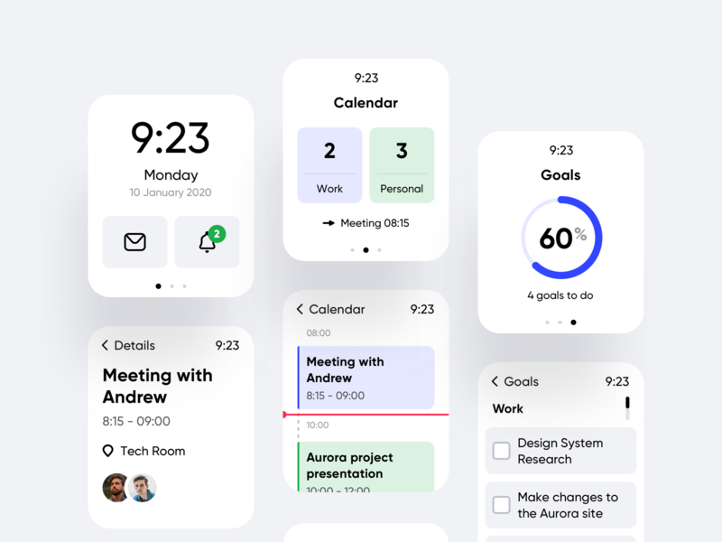 Daily Calendar Watch App ui ux clean design goals task management watch os todo tasks calendar watch mobile ios app android