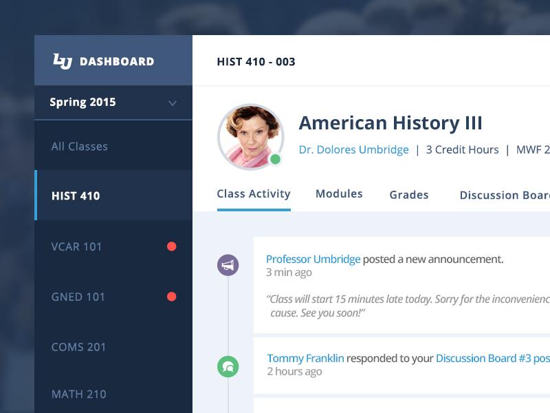 Student Dashboard - LMS ui ux interface clean flat app university web design