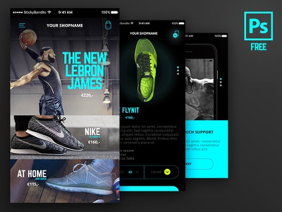 Freebie PSD: Mobile UI Kit website ux-design free ui-kit flat design black mobile psd glow ui ux
