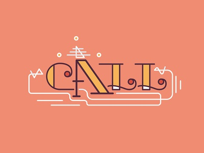 Call call typography animation line colorful type text kari typeface