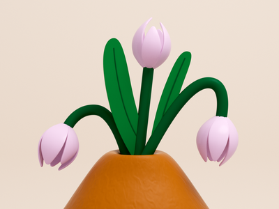 Tulips in a vase flowers illustration vase cinema 4d illustration 3d illustration 3d art floral flowers tulips