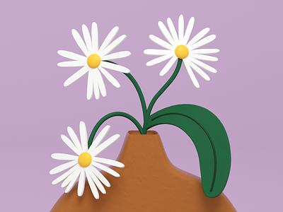 Chamomile 🌸 chamomile flowers dubai floral 3d illustration cinema 4d vase flowers illustration 3d art illustration