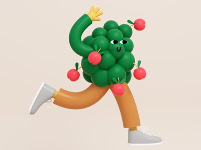 Sorry I'm busy byeeee walking happy character tree design motiongraphics motion flowers illustration cinema 4d character 3d illustration 3d art illustration