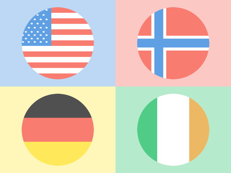 Icon Set // Flags of the World  icon set ireland germany norway usa icon flat flags