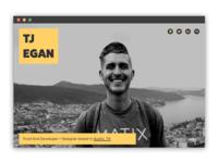 TJ Egan - Portfolio Redesign v1 web black yellow minimal ibm austin front end developer front end designer developer design portfolio