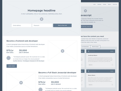 Frame it up homepage ux wireframe