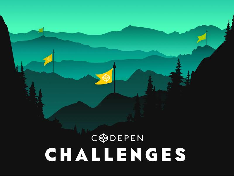 Codepen Challenges dark illustration landscape flags trees forest codepen