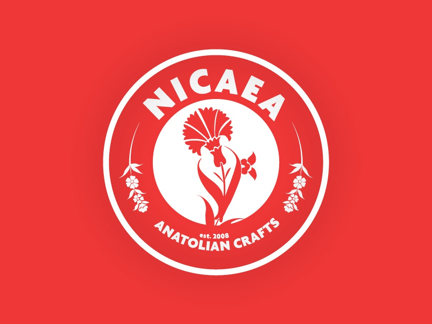 Nicaea Anatolian Crafts icon flat typography logo illustration