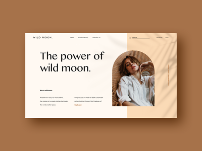 wild moon homepage above the fold homepage branding highend peacock chair ui  ux modern design earthy boho palm leaves shadows luxe elegant clean minimal cotton clothing brand fashion brand editorial ecommerce