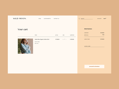 wild moon product overview and cart shopping app modern ecommerce product design checkout process checkout product overview cart product typography minimal design branding logo clean