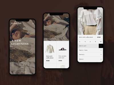 Massimo Dutti app concept add to cart modern app design landing page product page uiux luxury highend ui  ux app concept product design ecommerce app fashion brand app fashion branding minimal clean