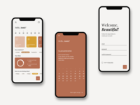 Period and Cycle Tracker clean modern health app women health app ui ux uiux minimal simple elegant women cycle tracker cycle period tracker tracker app tracker sign in sign up welcome screen app design