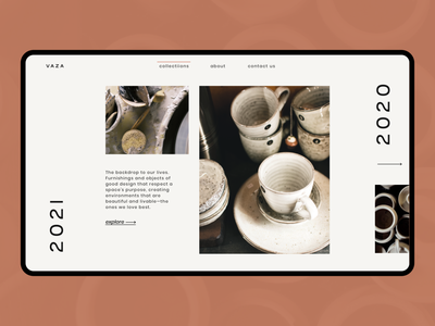 vase-collections luxury brand high end editorial layout vase ceramic clay e-commerce ecommerce ceramics simple minimal landing page minimal clean ui ux web ui ux webdesign homepage collection page collections