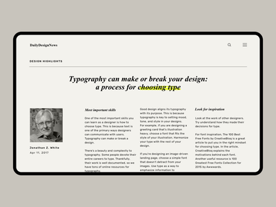 Article page branding typography design digital news concept design ui ux web modern web design clean blog post news minimal layout exploration website design typography