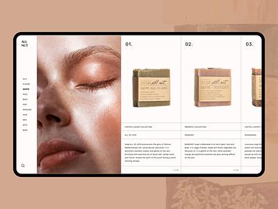 Natural cosmetics - Product list luxury design grid layout ecommerce shop elegant fashion design web shop natural cosmetics cosmetics products web design modern design ui  ux minimal clean design product page