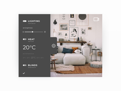 Daily UI #007 - Settings home monitoring daily ui heat lights home page settings challenge ui daily dailyui 007