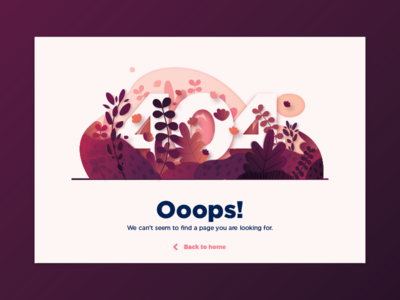 Daily UI #008 - 404 page ui page error 404 leaves colors flowers illustration daily ui challenge 008