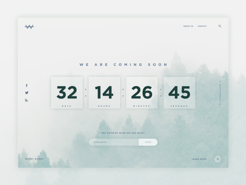 Daily UI #014 - Countdown Timer coming soon daily ui challenge 014 challenge ui daily mountain woods timer countdown