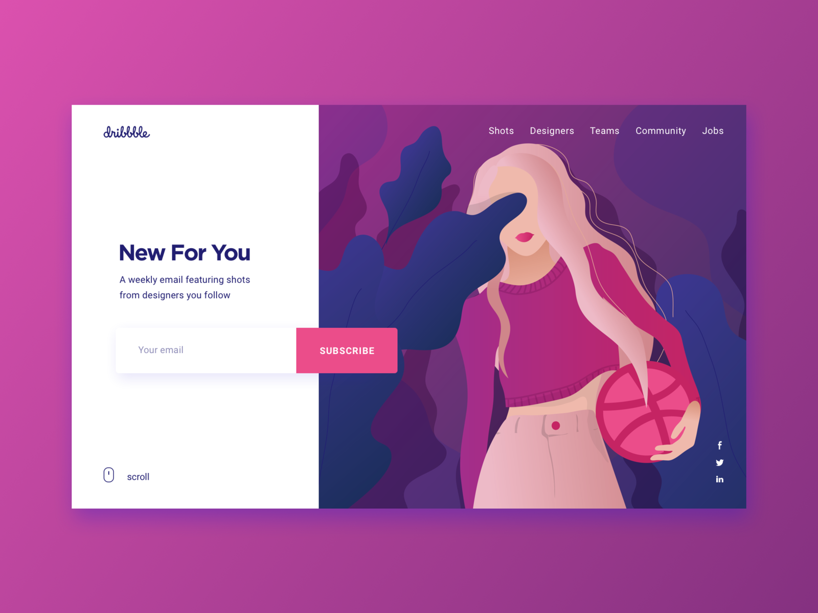 Daily UI #026 - Subscribe daily ui challenge daily ui illustration art featuring shots dribbble shot sport basketball girl plant dribbble app dribbble ball play email subscription email dribbble subscription dribbble newsletter news subscription box subscribe
