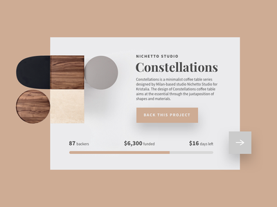 Daily UI #032 - Crowdfunding Campaign product product card concept uiux ui fundraise ecommence furniture store furniture 032 daily ui challange dailyui back this project constellations table coffe crowdfunding campaign campaign crowd funding crowdfund