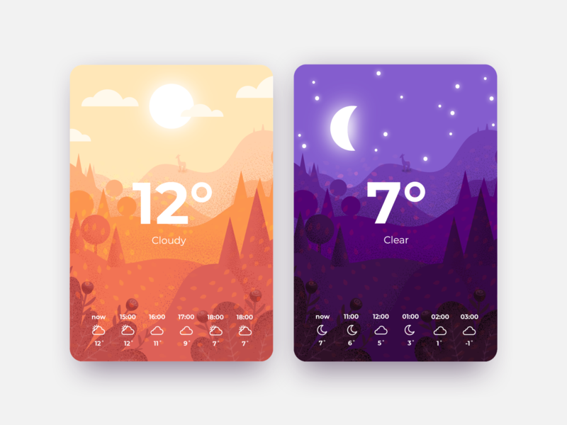 Daily UI #037 - Weather fall daily ui 037 daily ui challenge nature illustration weather icons cloudy windy wind leaves leaf woods deer night day nature illustration weather forecast weather app weather