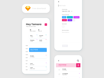 Freebie - Daily UI Challenge #042 - ToDo List design ux ui daily ui daily ui challenge resources free app free download freebie free clean app sketch minimal clean todolist todo app to do app to do list to do