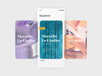 Daily UI Challenge #045 - Info Card art app minimal clean ui typography ux dailyui challenge daily ui carousel product offer painting card explore artist art info card info daily ui challenge