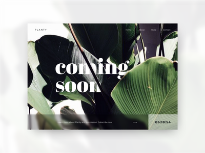 Daily UI #048 - Coming Soon typography ui ux minimal design clean daily ui daily ui challenge tropical nature plant explore countdown timer count down coming soon page landing page page coming soon