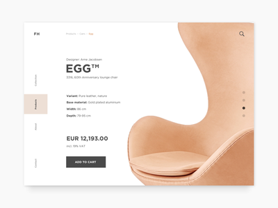 Daily UI Challenge #056 - Breadcrumbs design challenge breadcrumb ui ux dailyui web page design the egg chair chair shoping ecommerce add to basket add to cart single product product minimal clean daily ui daily ui challenge breadcrumbs