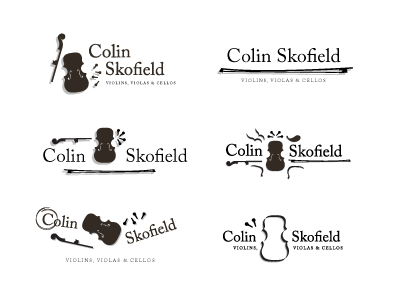 Colin Skofield Logo musical instruments cello viola craftsman musician brand logo strings bow violin luthier