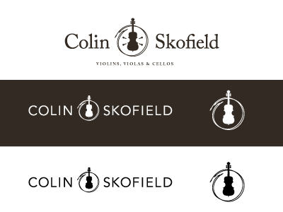 Colin Skofield Logo pt. 3 violin viola strings musician musical luthier logo instruments craftsman cello brand bow