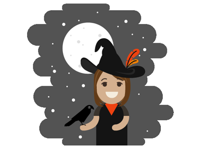 A Bewitching Portrait witch portrait raven halloween illustration vector illustrator adorbz