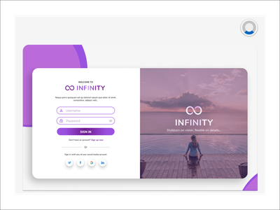 Web Sign in Page for Infinity less is more simple design web ui minimal