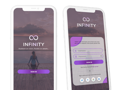 Infinity Mobile Sign in Page branding minimal simple design ui sign in