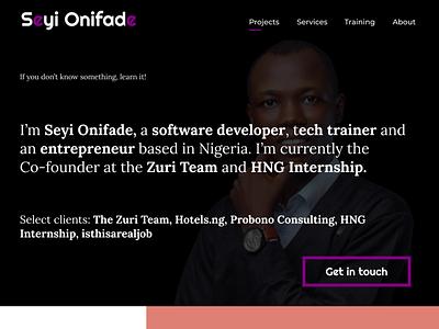 Seyi Onifade's Portfolio Web Landing Page design ui dark landing page