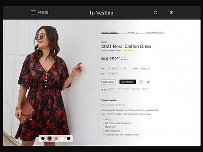 A Fashion E-Commerce Product Details Page monochrome dark design simple design minimal branding ui