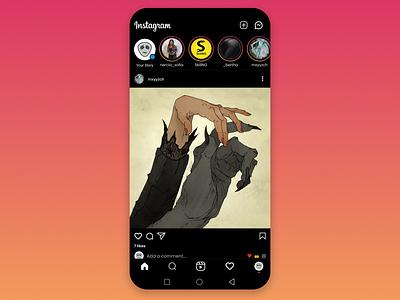 Replica of Instagram's Homepage instagram darkmode icon dark ui