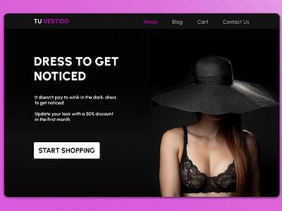 Tu Vestido Landing Page black autolayouts ecommerce fashiom e-commerce minimal ui simple design design dark