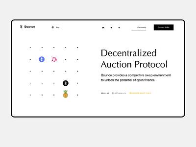 Auction Protocol finance decentralized community swap nft ux product ui wallet blockchain crypto defi landing protocols auction
