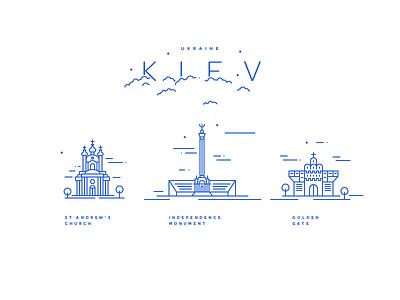 Kiev landmarks icons illustration golden gate church ukraine kiev landmarks