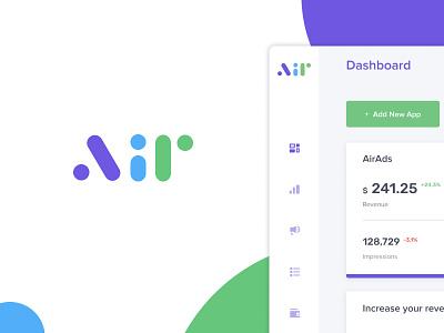 Air Logo multicolor color ux typography ads advertising dashboard design dashboard branding product logo illustration ui