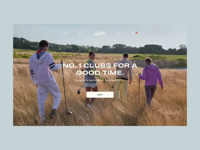 Golf brand home page typography 2d animation motion javascript interaction design