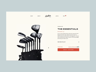 Golf brand product display page typography 2d animation motion javascript interaction design