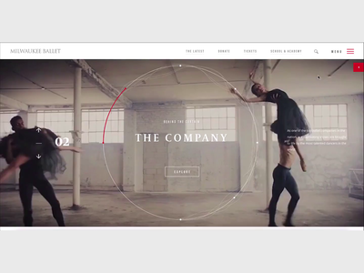 Ballet Company homepage and menu svg animation video background css animation motion javascript animation 2d interaction design