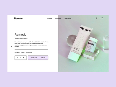 Skincare brand product display pages typography 2d animation motion javascript interaction design