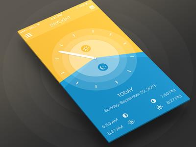 Daylight App ios7 ios7 app design ui climacons iphone 5 nav navigation mobile sun moon daylight